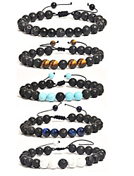 cheap -tiger eye stone turquoise frosted stone set bracelet jewelry volcanic stone yoga braided