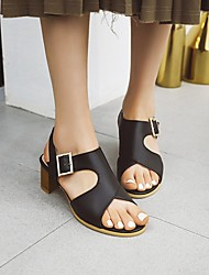 cheap -Women's Heels Cuban Heel Faux Leather Black Yellow Light Green