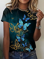 cheap -Women's Butterfly T shirt Graphic Butterfly Print Round Neck Tops Basic Basic Top Black