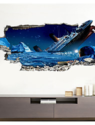 cheap -3D Broken Wall Ship Collapsed Home Corridor Background Decoration Can Be Removed Stickers