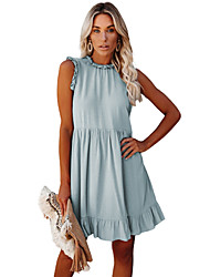 cheap -cross-border source of summer 2021 european and american wish foreign trade amazon women's new dress with ruffled waist
