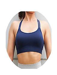 cheap -cross bra strappy seamless push up sports bra high impact sport underwear gym running bra fits top,blue,s