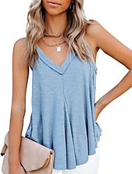 cheap -2021 amazon new european and american summer v-neck vest hem irregular sleeveless cotton top ladies