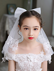 cheap -Two-tier Cute Wedding Veil Communion Veils with Solid Tulle