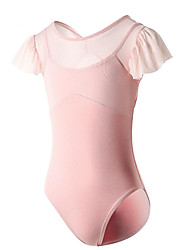 cheap -Ballet Leotard / Onesie Butterfly Solid Splicing Girls' Training Performance Short Sleeve High Cotton Blend Mesh