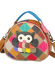 cheap -2020 new leather handbags cowhide color handmade hit color color animal print one-shoulder messenger bag