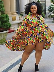 cheap -Women's Plus Size Graphic Print Shirt Collar  Long Sleeve Shirt Dress Short Mini Dress Yellow