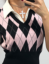 cheap -Women's Knitted Argyle Vest Sleeveless Sweater Cardigans V Neck Fall Spring Black Blushing Pink Brown
