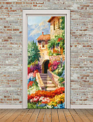 cheap -2pcs Self-adhesive Creative Oil Painting Style Country Landscape Door Stickers For Living Room Diy Decorative Home Waterproof Wall Stickers