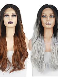 preiswerte -Spitze Front Perücken Ombre Farbe natürliche Welle Perücke für Frauen japanische hitzebeständige Stoff synthetische Haarersatz Perücken 26inch freie Kappe