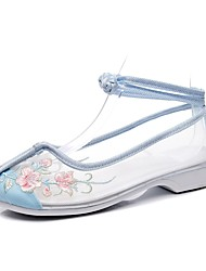 cheap -Women's Flats Flat Heel Round Toe Booties Ankle Boots Chinoiserie Mesh Lace-up Floral White Blue Pink / Booties / Ankle Boots