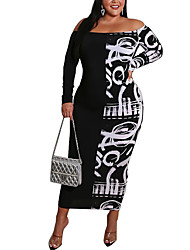 cheap -Women's Plus Size Dresses Sheath Dress Long Sleeve Graphic Print One Shoulder Spring M L XL XXL 3XL / Maxi