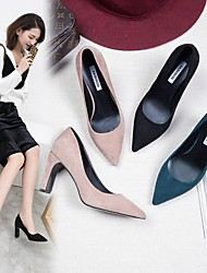 cheap -Women's Heels Block Heel Pointed Toe Suede PU Solid Colored Almond Black Blue