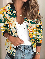 cheap -Women's Jackets Floral Print Sporty Spring &  Fall Jacket Regular Daily Long Sleeve Air Layer Fabric Coat Tops Yellow
