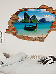 cheap -3D Broken Wall Rockery Landscape Boat Home Dackground Decoration Can Be Removed Stickers