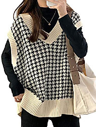 cheap -pehmea women's knitted cotton v neck sleeveless houndstooth sweater vest casual pullover waistcoat tops (beige, x-large)