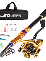 cheap -Telescopic Fishing Rod and Reel Combo Carbon Fiber Fishing Pole and Reel with Lures Tackle Hooks Carrier Bag 1.8/2.1/2.4/2.7/3.0/3.6m for Sea Fishing Saltwater and Freshwater