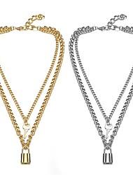 cheap -double-layer chain necklace female retro wild temperament key lock sweater chain