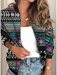 cheap -Women's Jackets Geometric Print Casual Fall Jacket Regular Daily Long Sleeve Air Layer Fabric Coat Tops Rainbow