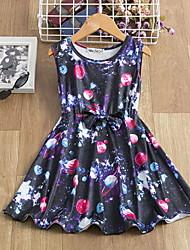cheap -Kids Little Girls' Dress Galaxy Bow Print Navy Blue Knee-length Sleeveless Active Dresses Summer Regular Fit 5-12 Years