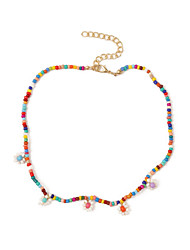 cheap -Women's Beaded Necklace Necklace Beads Flower Colorful Boho Resin Alloy Rainbow 37 cm Necklace Jewelry 1pc For Gift Prom Beach