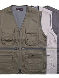 cheap -Men's Hiking Vest / Gilet Fishing Vest Work Vest Sleeveless Vest / Gilet Jacket Top Outdoor Quick Dry Lightweight Breathable Sweat wicking Autumn / Fall Spring Summer Creamy-white ArmyGreen Dark Gray
