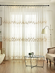 cheap -Two Panel Korean Pastoral Style Embroidered Window Screen Living Room Bedroom Dining Room Children's Room Translucent Tulle