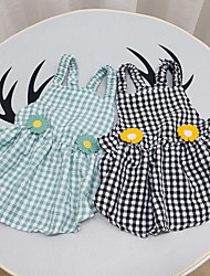 cheap -Dog Cat Dress Plaid Flower Basic Adorable Cute Casual / Daily Dog Clothes Puppy Clothes Dog Outfits Breathable Black Green Costume for Girl and Boy Dog Cotton Fabric S M L XL XXL