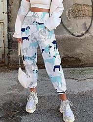 cheap -Women's Fashion Casual / Sporty Comfort Fitness Weekend Sweatpants Pants Cat Leopard Animal Full Length Pocket Elastic Drawstring Design Print White
