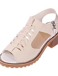 cheap -Women's Heels Cuban Heel Open Toe PU Solid Colored White Beige