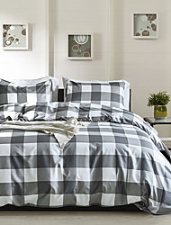 cheap -Duvet cover set with zipper with plaid geometric pattern, ultra soft comfortable and breathable durable