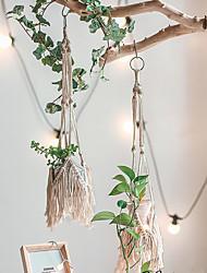 cheap -Hand Woven Macrame Tapestry Plant Hanger Holder Bohemian Boho Wall Hanging Ornament Art Decor Home Bedroom Living Room Decoration Nordic Handmade Tassel Cotton 15*15*60cm