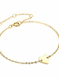 cheap -burei 14k gold dainty small heart bracelet for women girls adjustable bracelets jewelry gift