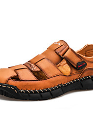 cheap -Men's Sandals Beach Roman Shoes Daily Outdoor Nappa Leather Breathable Handmade Non-slipping Black Brown Spring Summer