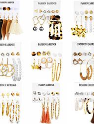 cheap -tassel earrings simple retro acrylic pearl earrings set 6 pairs