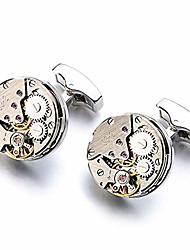 cheap -lepton watch movement cufflinks for men vintage steampunk cufflink personalized mechanical gear cuff links for father lover friends wedding anniversary birthday with a gift box