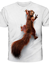 cheap -Men's Tee T shirt 3D Print Graphic Squirrel Print Short Sleeve Daily Tops Streetwear Exaggerated White Blue Red