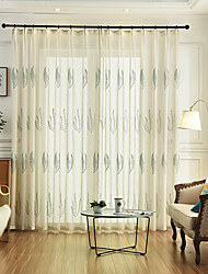 cheap -Two Panel Korean Pastoral Linen Cotton Embroidered Window Screen Living Room Bedroom Dining Room Children's Room Translucent Tulle