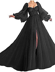 cheap -dymaisei long puffy sleeve prom dress long with split evening gowns birthday party dresses us18w black