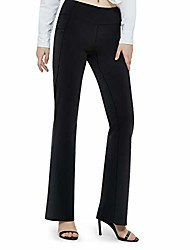 """cheap -28""""/30""""/32""""/34"""" bootcut yoga dress pants for women tummy control with pockets flare bootleg high waist work casual pants black"""
