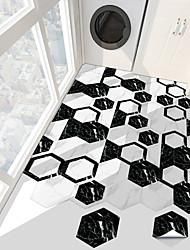 cheap -10 PCS Creative Marble Black And White Hexagonal Non-slip Floor Pvc Sticker Kitchen Bathroom Floor Waterproof Self-adhesive Diy Removable Wall Sticker
