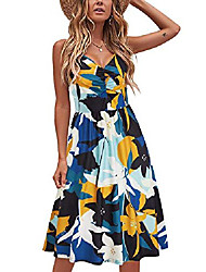 cheap -laishen women's sundress v neck floral spaghetti strap summer casual swing dress with pocket(floral04,xl)