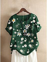 cheap -Women's Plus Size Floral Blouse Shirt Large Size Round Neck Short Sleeve Tops 3XL 4XL 5XL Black Red Big Size