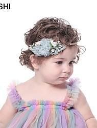 cheap -amazon creative new baby nylon hairband with pearl mesh splicing fabric children's headband customization