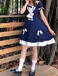 preiswerte -Lolita nette Art Kleid Damen Japanisch Cosplay Kostüme Königliches Blau Solide