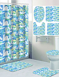 cheap -Four-piece Design of Printed Bathroom Shower Curtain and Leisure Toilet