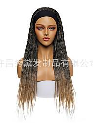 cheap -wigs female ice silk hair with headscarf wigs three-strand braids african braids brazil hand hook stretch mesh wig