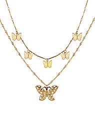 cheap -butterfly necklace multi-layer butterfly clavicle chain necklace set