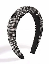 cheap -boderier rhinestone bejewelled padded headband celebrity ladies hair accessories velvet hair band headpiece (black)