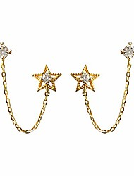 cheap -dainty star sterling silver 925 threader tassel chain stud earrings 14k gold plated for women girls sparkling crystal cz climber crawler dangling chain earring two holes jewelry gifts sensitive ears